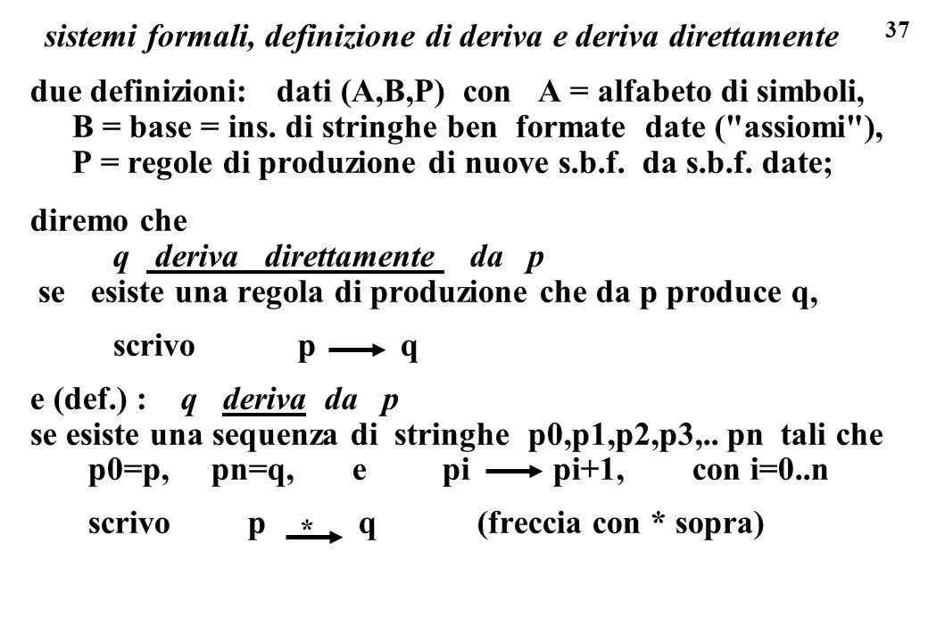 37 due definizioni: dati (A,B,P) con A = alfabeto di simboli, B = base = ins.