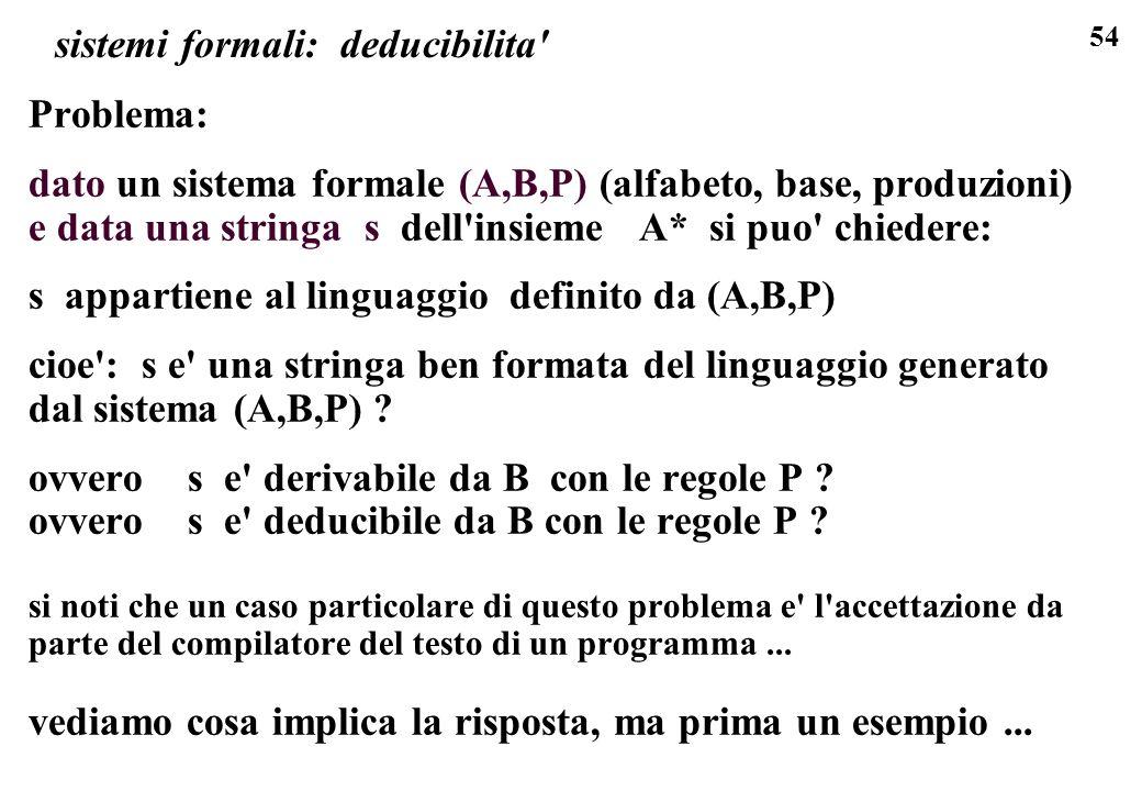 54 sistemi formali: deducibilita Problema: dato un sistema formale (A,B,P) (alfabeto, base, produzioni) e data una stringa s dell insieme A* si puo chiedere: s appartiene al linguaggio definito da (A,B,P) cioe : s e una stringa ben formata del linguaggio generato dal sistema (A,B,P) .