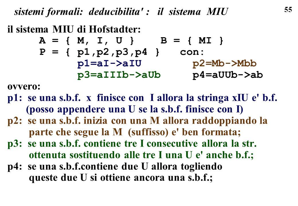 55 sistemi formali: deducibilita : il sistema MIU il sistema MIU di Hofstadter: A = { M, I, U } B = { MI } P = { p1,p2,p3,p4 } con: p1=aI->aIU p2=Mb->Mbb p3=aIIIb->aUb p4=aUUb->ab ovvero: p1: se una s.b.f.