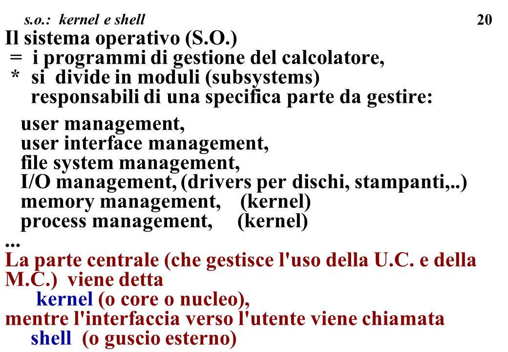 20 Il sistema operativo (S.O.) = i programmi di gestione del calcolatore, * si divide in moduli (subsystems) responsabili di una specifica parte da ge