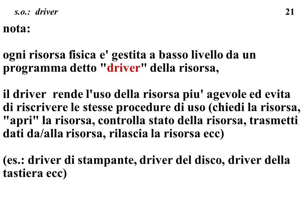 21 s.o.: driver nota: ogni risorsa fisica e' gestita a basso livello da un programma detto