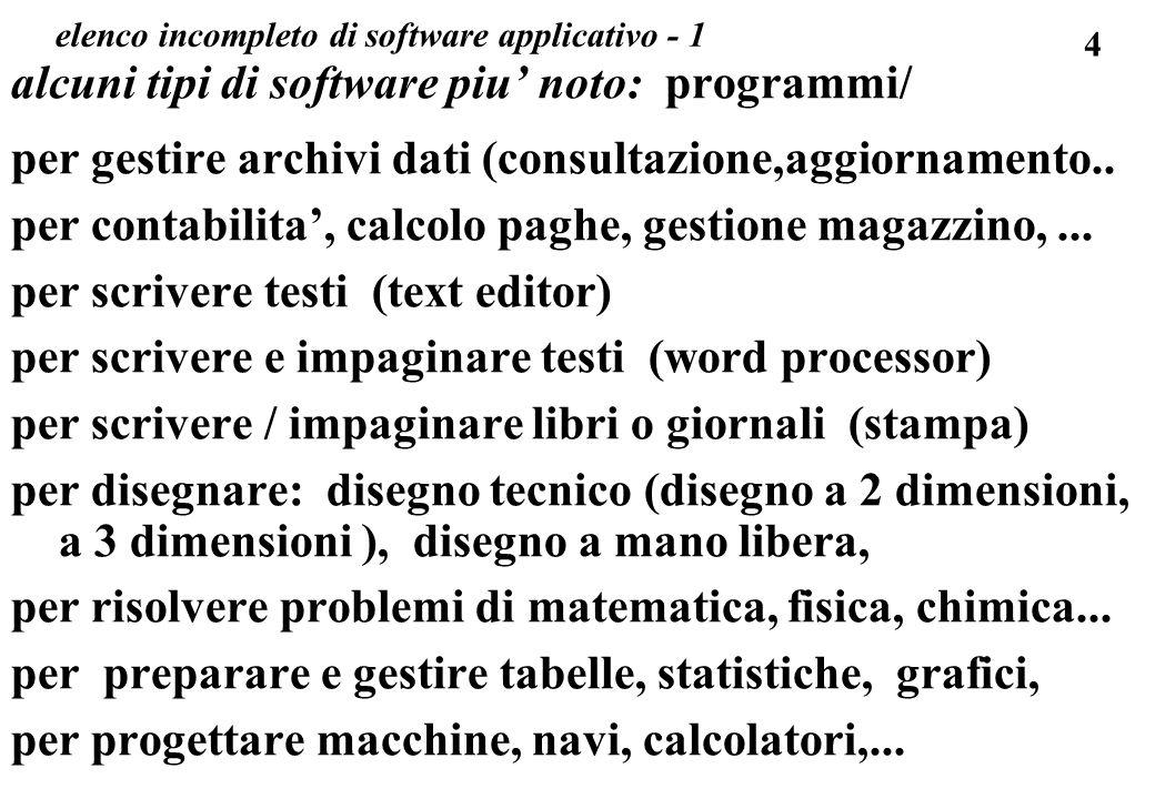 4 elenco incompleto di software applicativo - 1 alcuni tipi di software piu noto: programmi/ per gestire archivi dati (consultazione,aggiornamento.. p