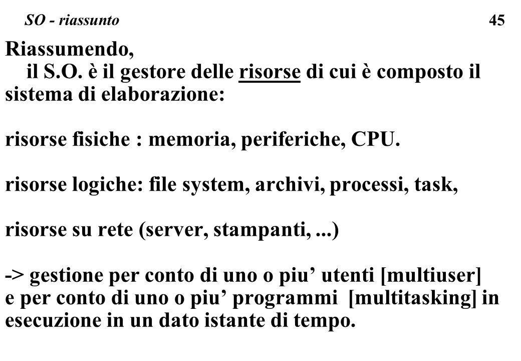 45 Riassumendo, il S.O. è il gestore delle risorse di cui è composto il sistema di elaborazione: risorse fisiche : memoria, periferiche, CPU. risorse