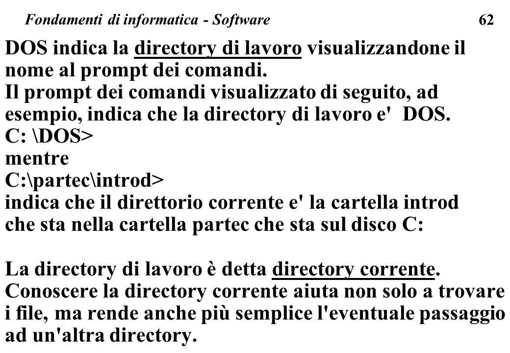 62 DOS indica la directory di lavoro visualizzandone il nome al prompt dei comandi. Il prompt dei comandi visualizzato di seguito, ad esempio, indica