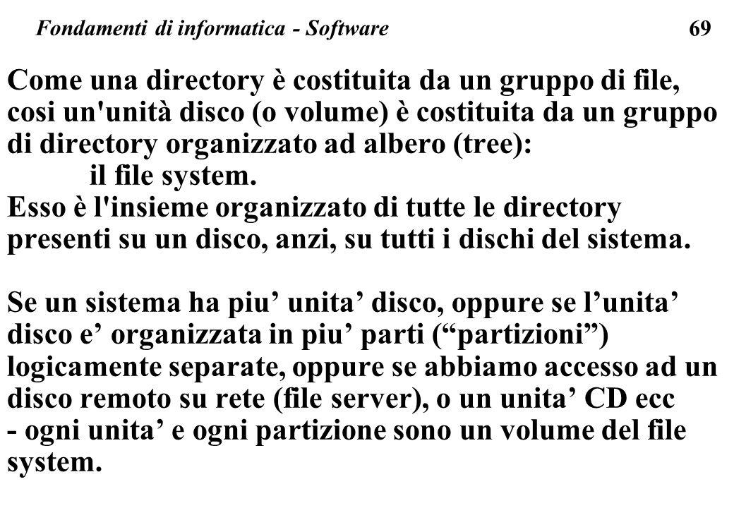 69 Come una directory è costituita da un gruppo di file, cosi un'unità disco (o volume) è costituita da un gruppo di directory organizzato ad albero (