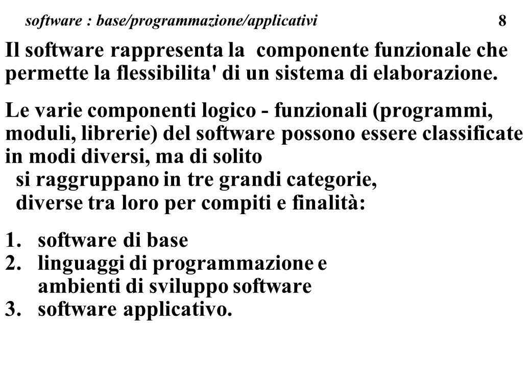 79 software applicativo Con il termine software applicativo si intendono linsieme dei programmi che permettono di specializzare il funzionamento dell elaboratore per consentire di svolgere al meglio quel particolare compito che l utente richiede.