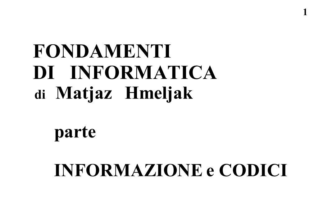 32 Informazione - dato semplice soluzioni: quanta informazione ha il dato E scelto tra i 16 simboli 0 1 2 3 4 5 6 7 8 9 A B C D E F n=16 log2(1/p) = log2(n) = log2(16 ) = 4 bit quanta informazione ha il dato P scelto tra i 32 simboli dellalfabeto russo n=32 log2(1/p) = log2(n) = log2( 32 ) = 5 bit