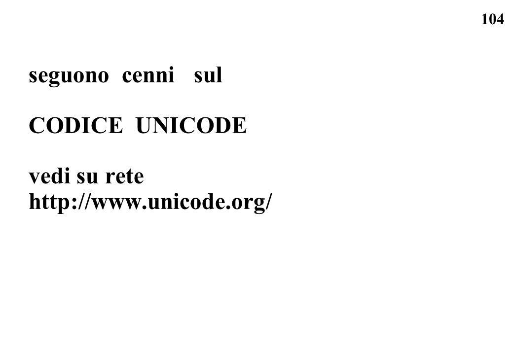 104 seguono cenni sul CODICE UNICODE vedi su rete http://www.unicode.org/