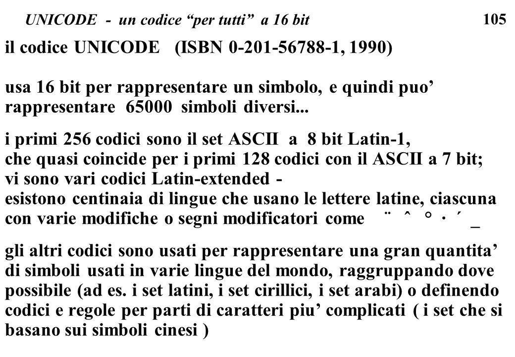 105 UNICODE - un codice per tutti a 16 bit il codice UNICODE (ISBN 0-201-56788-1, 1990) usa 16 bit per rappresentare un simbolo, e quindi puo rapprese
