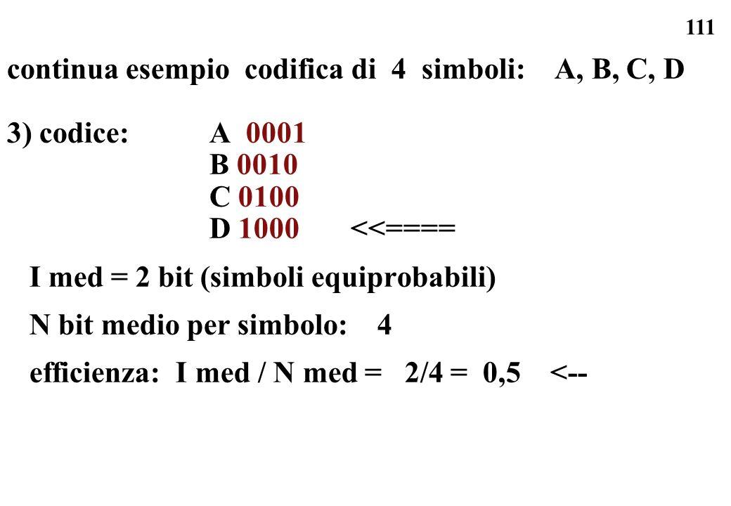 111 continua esempio codifica di 4 simboli: A, B, C, D 3) codice: A 0001 B 0010 C 0100 D 1000 <<==== I med = 2 bit (simboli equiprobabili) N bit medio