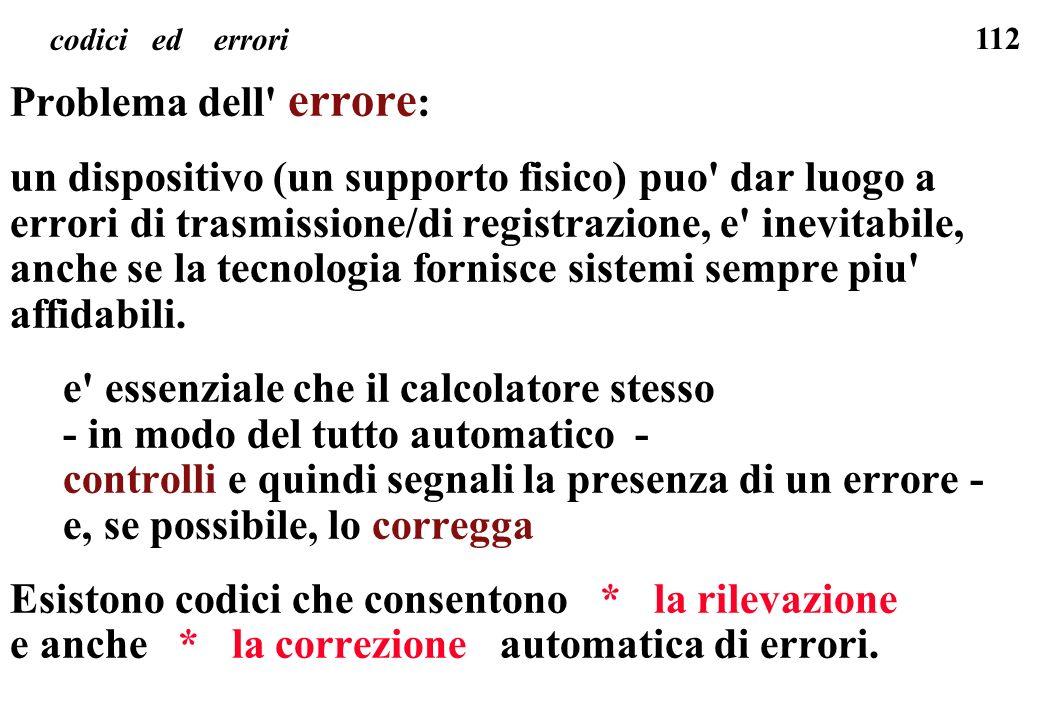 112 codici ed errori Problema dell' errore : un dispositivo (un supporto fisico) puo' dar luogo a errori di trasmissione/di registrazione, e' inevitab