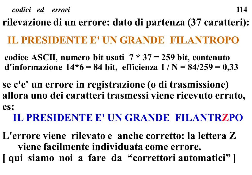 114 codici ed errori rilevazione di un errore: dato di partenza (37 caratteri): IL PRESIDENTE E' UN GRANDE FILANTROPO codice ASCII, numero bit usati 7