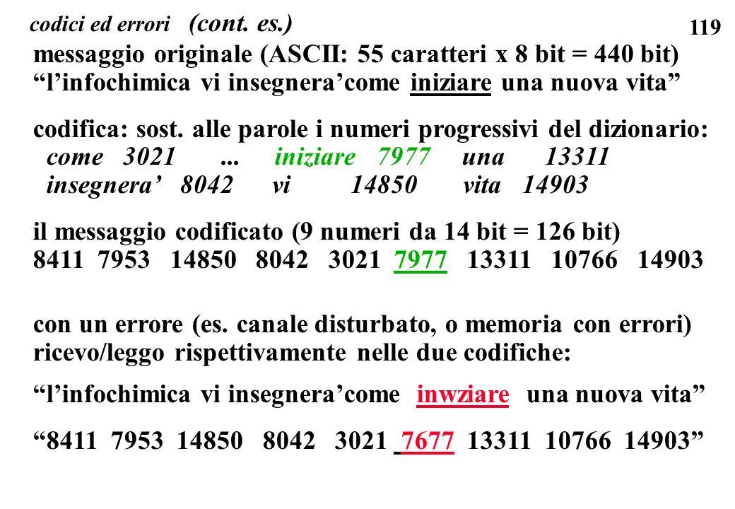 119 codici ed errori (cont. es.) messaggio originale (ASCII: 55 caratteri x 8 bit = 440 bit) linfochimica vi insegneracome iniziare una nuova vita cod