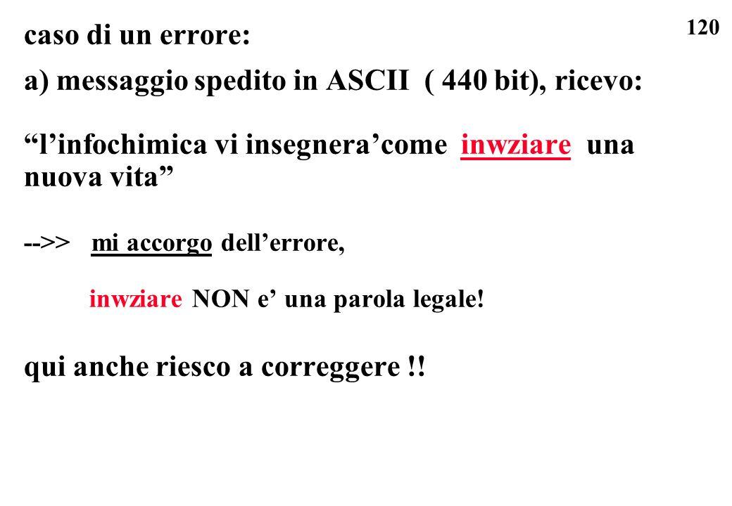 120 caso di un errore: a) messaggio spedito in ASCII ( 440 bit), ricevo: linfochimica vi insegneracome inwziare una nuova vita -->> mi accorgo dellerr