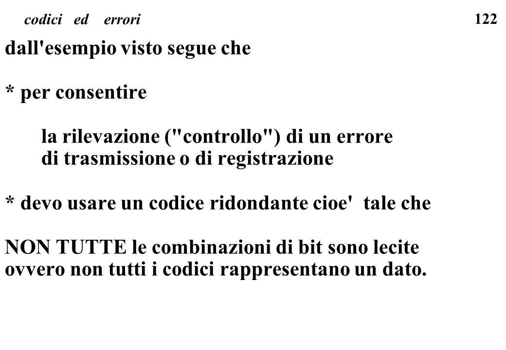 122 codici ed errori dall'esempio visto segue che * per consentire la rilevazione (