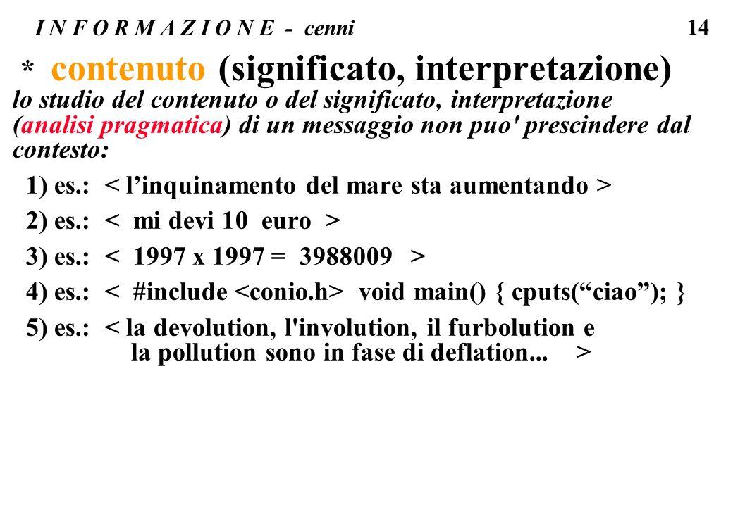 14 I N F O R M A Z I O N E - cenni * contenuto (significato, interpretazione) lo studio del contenuto o del significato, interpretazione (analisi prag
