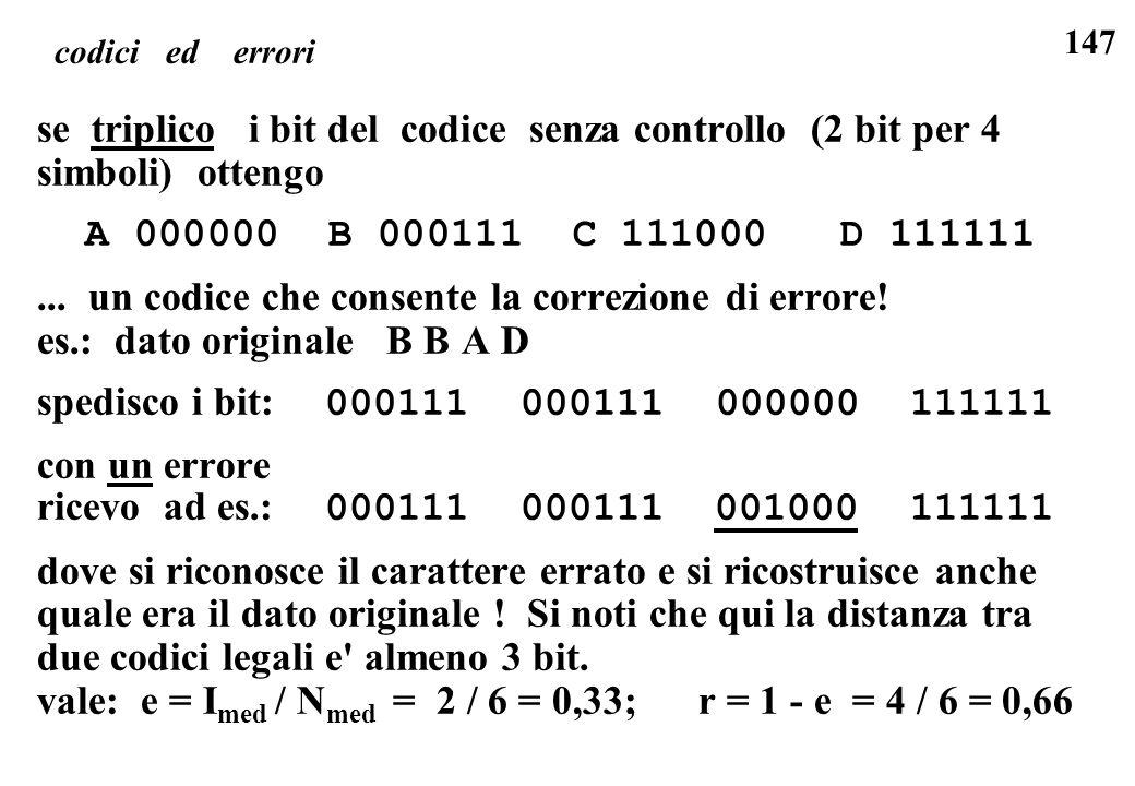 147 se triplico i bit del codice senza controllo (2 bit per 4 simboli) ottengo A 000000 B 000111 C 111000 D 111111... un codice che consente la correz