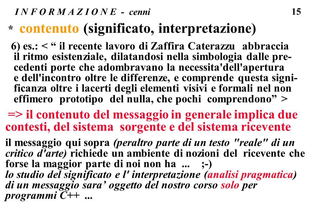 15 I N F O R M A Z I O N E - cenni * contenuto (significato, interpretazione) 6) es.: < il recente lavoro di Zaffira Caterazzu abbraccia il ritmo esis