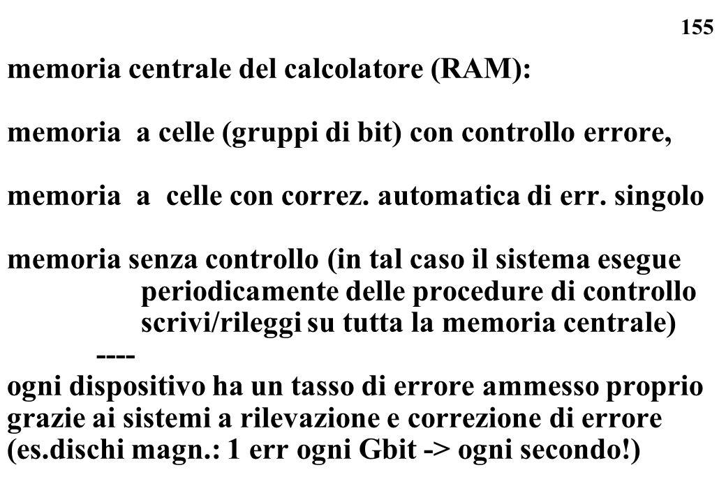 155 memoria centrale del calcolatore (RAM): memoria a celle (gruppi di bit) con controllo errore, memoria a celle con correz. automatica di err. singo