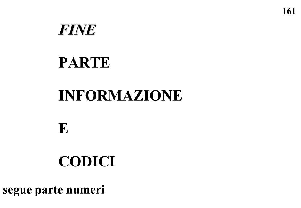 161 FINE PARTE INFORMAZIONE E CODICI segue parte numeri