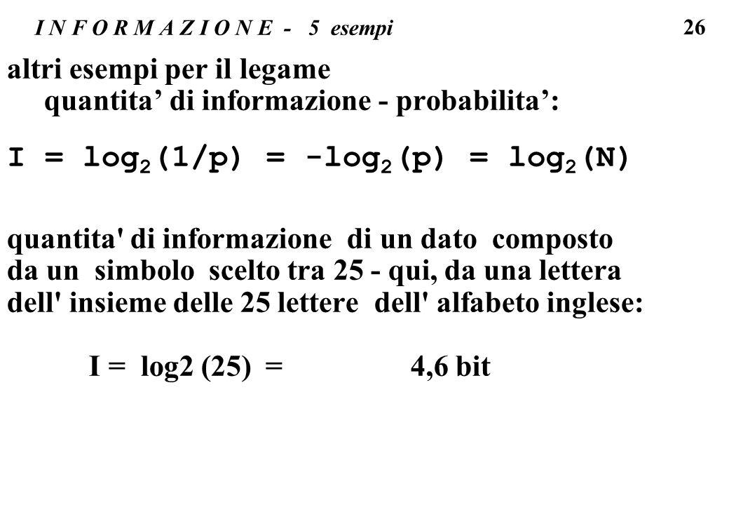 26 I N F O R M A Z I O N E - 5 esempi altri esempi per il legame quantita di informazione - probabilita: I = log 2 (1/p) = -log 2 (p) = log 2 (N) quan