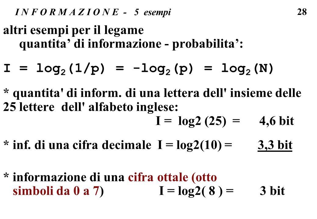 28 I N F O R M A Z I O N E - 5 esempi altri esempi per il legame quantita di informazione - probabilita: I = log 2 (1/p) = -log 2 (p) = log 2 (N) * qu