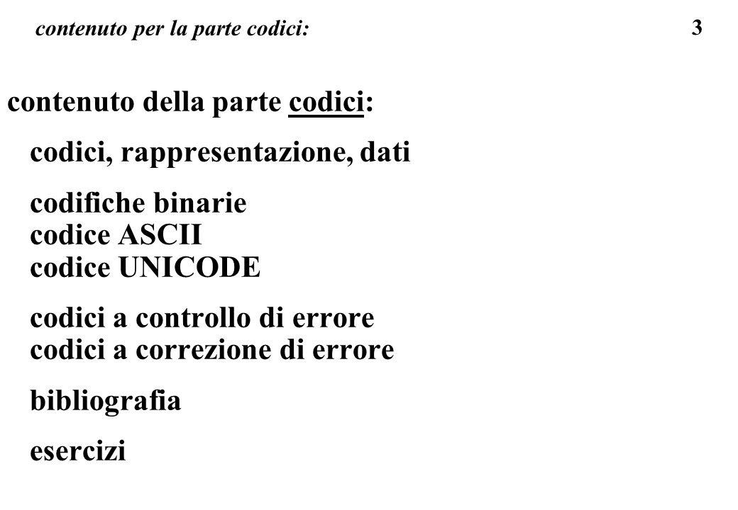 94 codici e dati il codice ASCII per rappresentare un testo semplice: 32 codici di controllo (corrisp.ai numeri da 0 a 31) 96 codici stampabili, sono i simboli (caratteri) stampabili del codice ASCII, lettere (maiuscole, minuscole, alfabeto inglese), cifre (da 0 a 9), simboli vari (aritmetica, punteggiatura, parentesi, ecc) i codici da 128 a 255 hanno significati diversi a seconda della scelta dell utente.