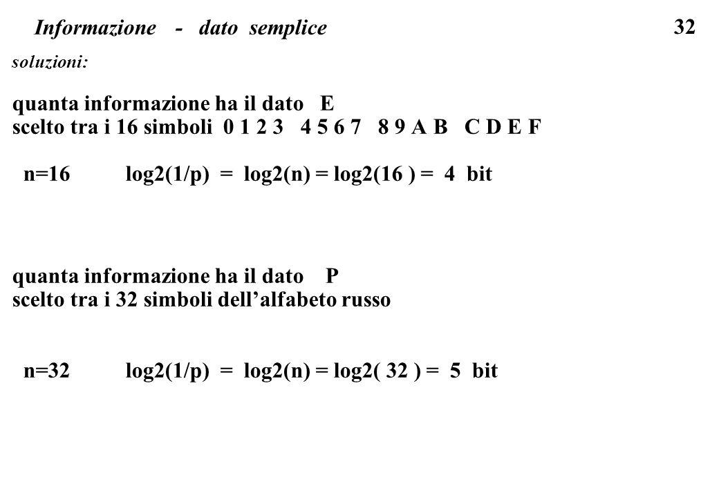 32 Informazione - dato semplice soluzioni: quanta informazione ha il dato E scelto tra i 16 simboli 0 1 2 3 4 5 6 7 8 9 A B C D E F n=16 log2(1/p) = l