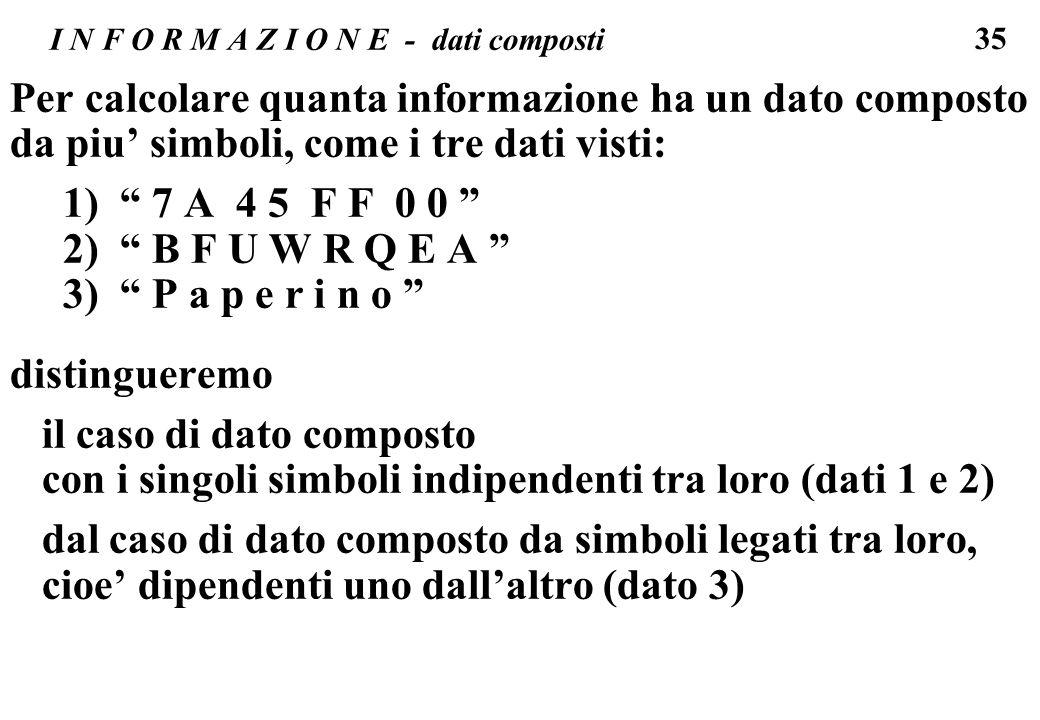 35 I N F O R M A Z I O N E - dati composti Per calcolare quanta informazione ha un dato composto da piu simboli, come i tre dati visti: 1) 7 A 4 5 F F
