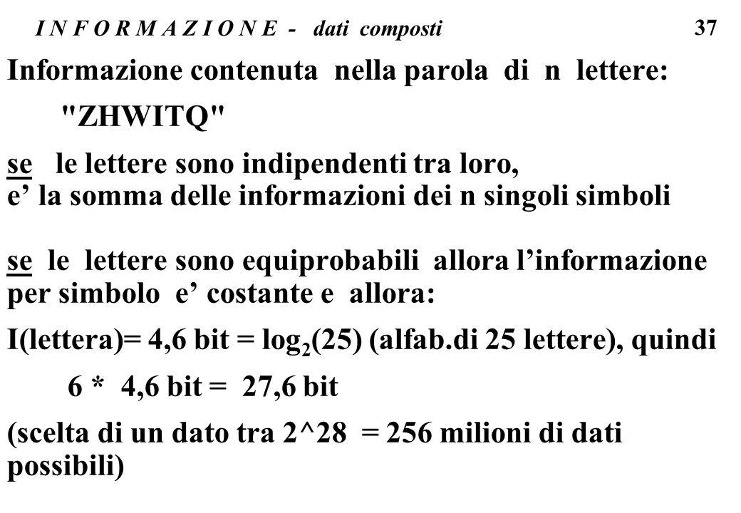 37 I N F O R M A Z I O N E - dati composti Informazione contenuta nella parola di n lettere: