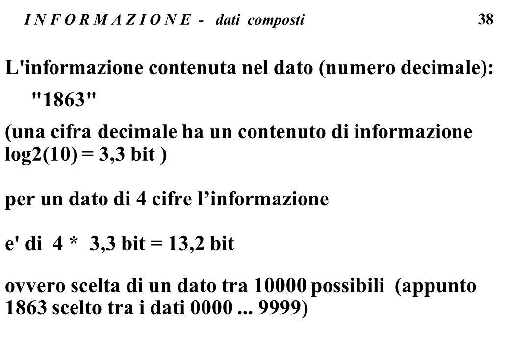 38 I N F O R M A Z I O N E - dati composti L'informazione contenuta nel dato (numero decimale):