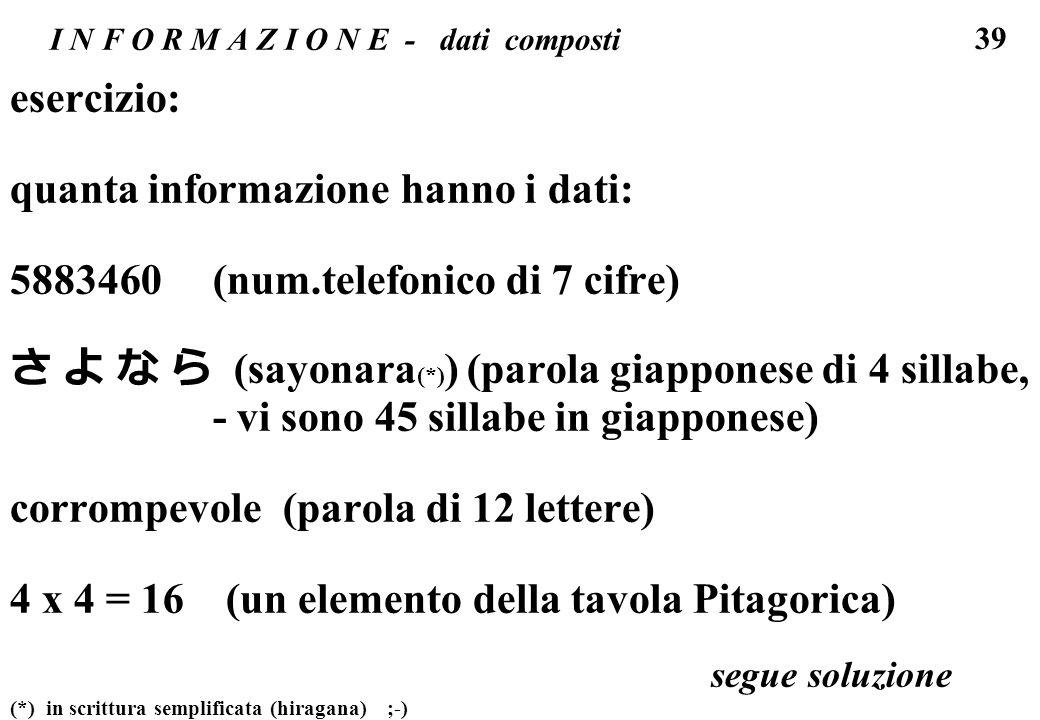 39 I N F O R M A Z I O N E - dati composti esercizio: quanta informazione hanno i dati: 5883460 (num.telefonico di 7 cifre) (sayonara (*) ) (parola gi