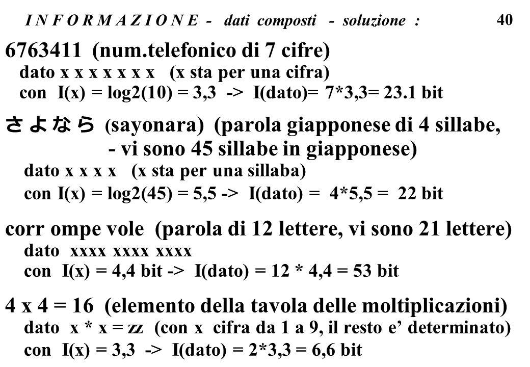 40 I N F O R M A Z I O N E - dati composti - soluzione : 6763411 (num.telefonico di 7 cifre) dato x x x x x x x (x sta per una cifra) con I(x) = log2(