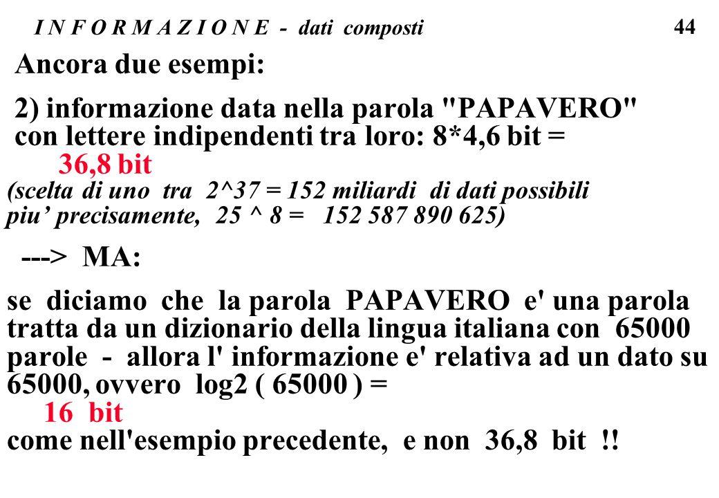 44 I N F O R M A Z I O N E - dati composti Ancora due esempi: 2) informazione data nella parola