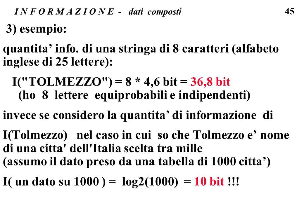 45 I N F O R M A Z I O N E - dati composti 3) esempio: quantita info. di una stringa di 8 caratteri (alfabeto inglese di 25 lettere): I(