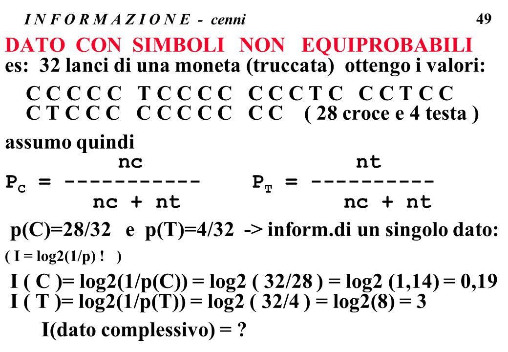49 I N F O R M A Z I O N E - cenni DATO CON SIMBOLI NON EQUIPROBABILI es: 32 lanci di una moneta (truccata) ottengo i valori: C C C C C T C C C C C C