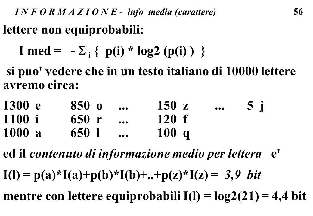 56 I N F O R M A Z I O N E - info media (carattere) lettere non equiprobabili: I med = - i { p(i) * log2 (p(i) ) } si puo' vedere che in un testo ital