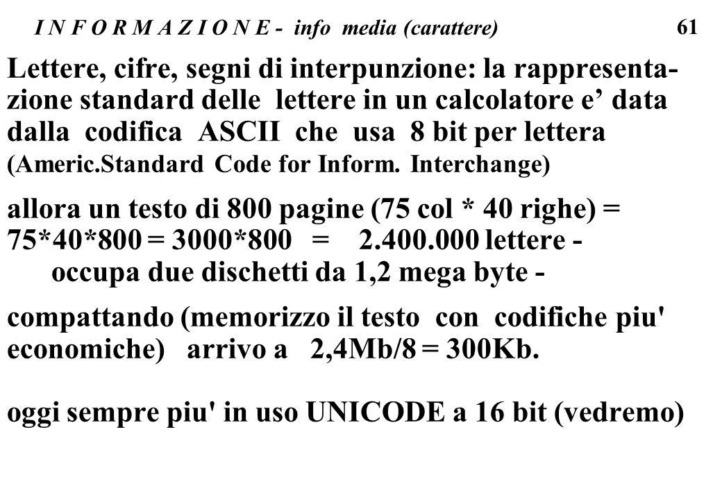 61 I N F O R M A Z I O N E - info media (carattere) Lettere, cifre, segni di interpunzione: la rappresenta- zione standard delle lettere in un calcola