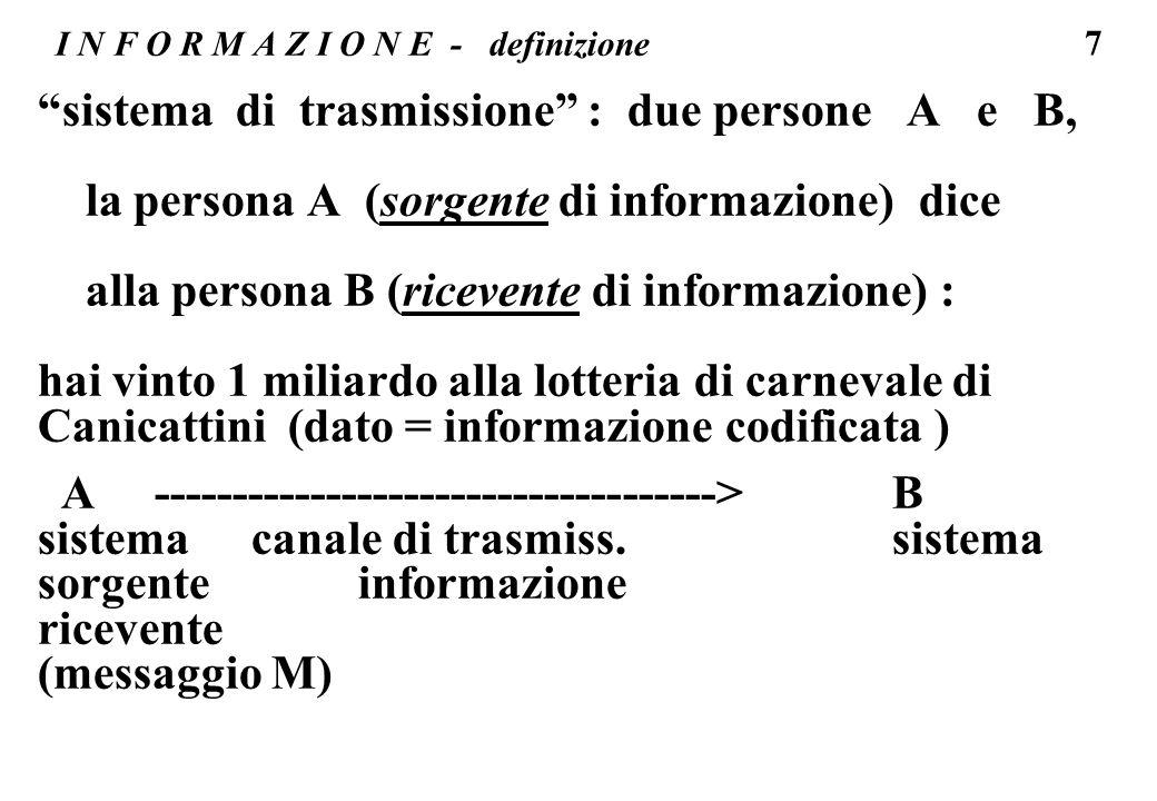 38 I N F O R M A Z I O N E - dati composti L informazione contenuta nel dato (numero decimale): 1863 (una cifra decimale ha un contenuto di informazione log2(10) = 3,3 bit ) per un dato di 4 cifre linformazione e di 4 * 3,3 bit = 13,2 bit ovvero scelta di un dato tra 10000 possibili (appunto 1863 scelto tra i dati 0000...
