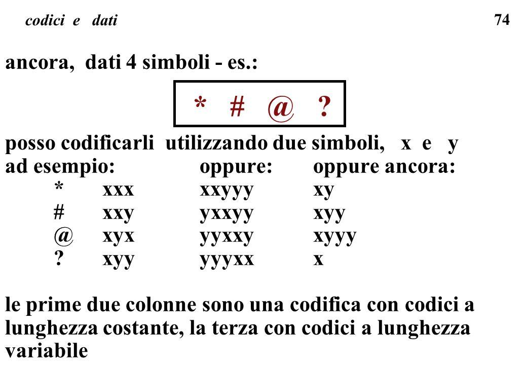 74 codici e dati ancora, dati 4 simboli - es.: * # @ ? posso codificarli utilizzando due simboli, x e y ad esempio: oppure: oppure ancora: *xxxxxyyy x