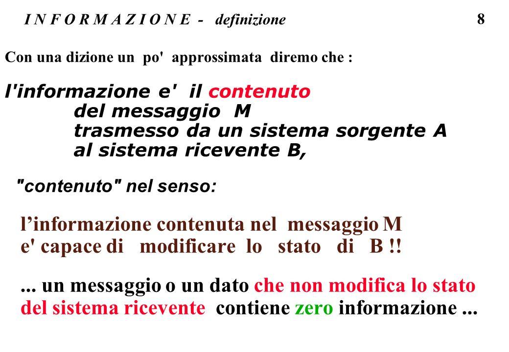 19 I N F O R M A Z I O N E - I = f(probabilita) la quantita di informazione e legata all incertezza con cui si aspetta il messaggio (o il dato), quindi alla probabilita di quel dato (o messaggio) : un dato relativo ad un evento poco probabile contiene una grande quantita di informazione; e piu conosco il contenuto del messaggio, cioe maggiore e la probabilita del messaggio -> piu piccola e la quantita di informazione contenuta; fino al dato relativo ad un evento certo, che ha probabilita uno e a cui si associa un quantita di informazione zero.