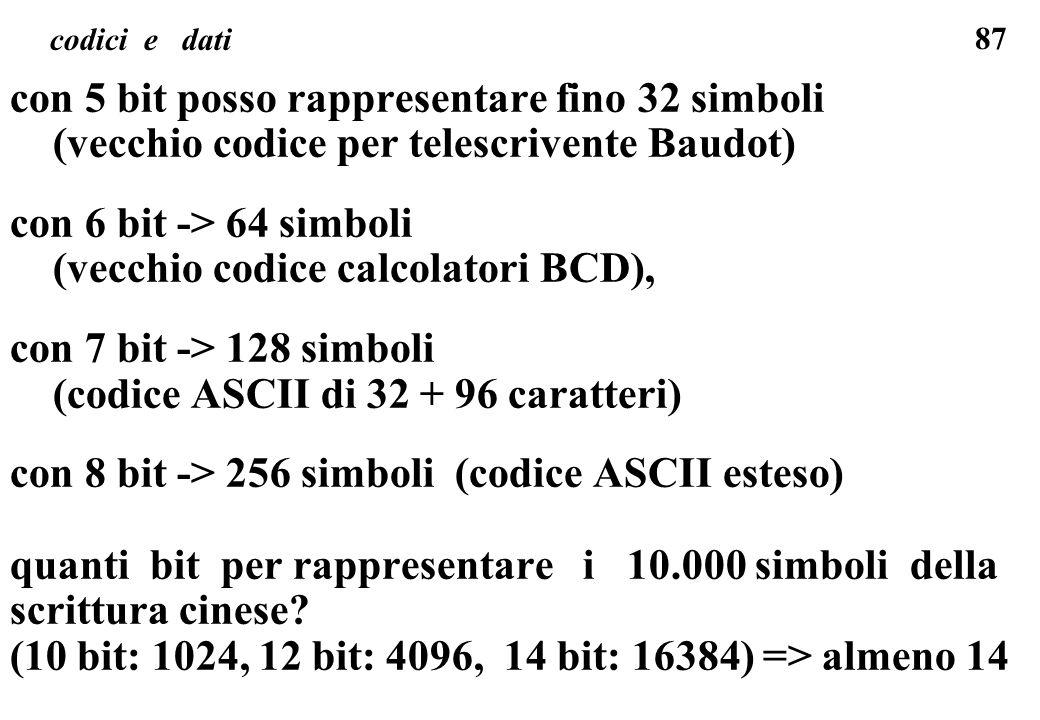 87 codici e dati con 5 bit posso rappresentare fino 32 simboli (vecchio codice per telescrivente Baudot) con 6 bit -> 64 simboli (vecchio codice calco