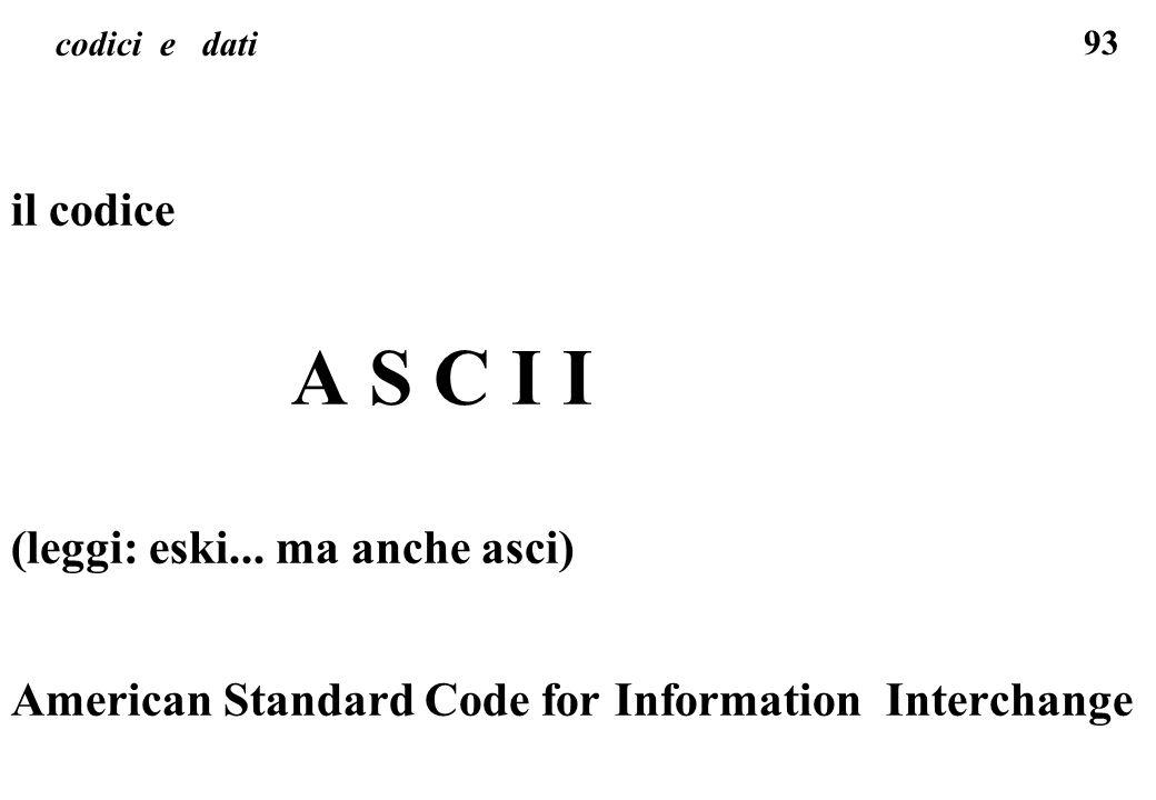 93 codici e dati il codice A S C I I (leggi: eski... ma anche asci) American Standard Code for Information Interchange