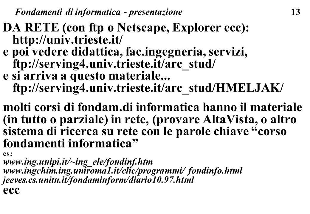 13 Fondamenti di informatica - presentazione DA RETE (con ftp o Netscape, Explorer ecc): http://univ.trieste.it/ e poi vedere didattica, fac.ingegneri