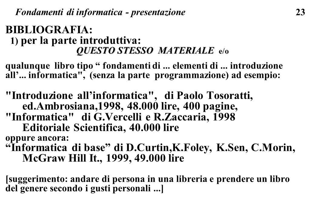 23 BIBLIOGRAFIA: 1) per la parte introduttiva: QUESTO STESSO MATERIALE e/o qualunque libro tipo fondamenti di... elementi di... introduzione all... in
