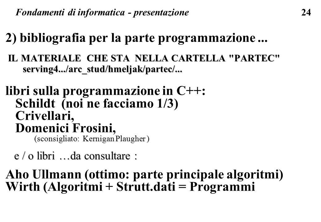 24 2) bibliografia per la parte programmazione... IL MATERIALE CHE STA NELLA CARTELLA