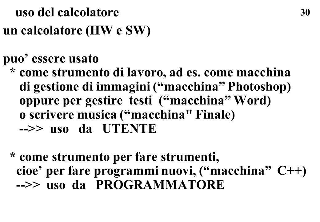30 un calcolatore (HW e SW) puo essere usato * come strumento di lavoro, ad es. come macchina di gestione di immagini (macchina Photoshop) oppure per