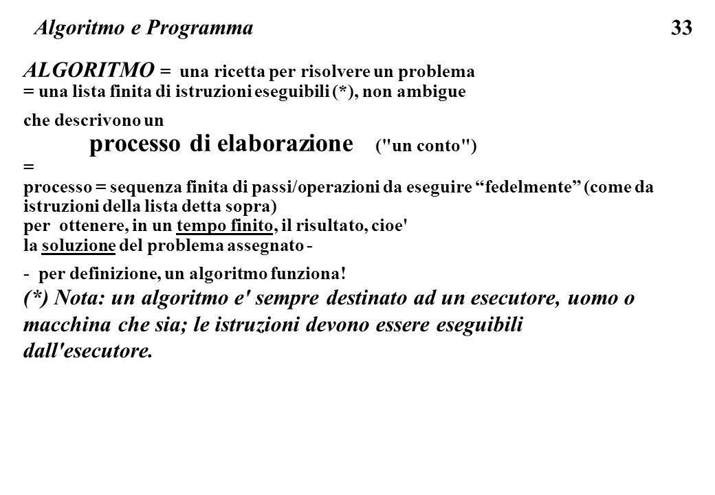 33 Algoritmo e Programma ALGORITMO = una ricetta per risolvere un problema = una lista finita di istruzioni eseguibili (*), non ambigue che descrivono