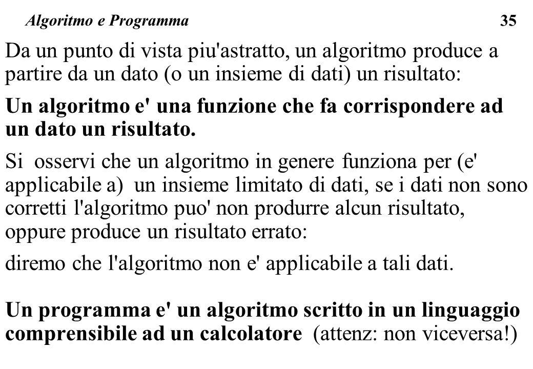 35 Algoritmo e Programma Da un punto di vista piu'astratto, un algoritmo produce a partire da un dato (o un insieme di dati) un risultato: Un algoritm