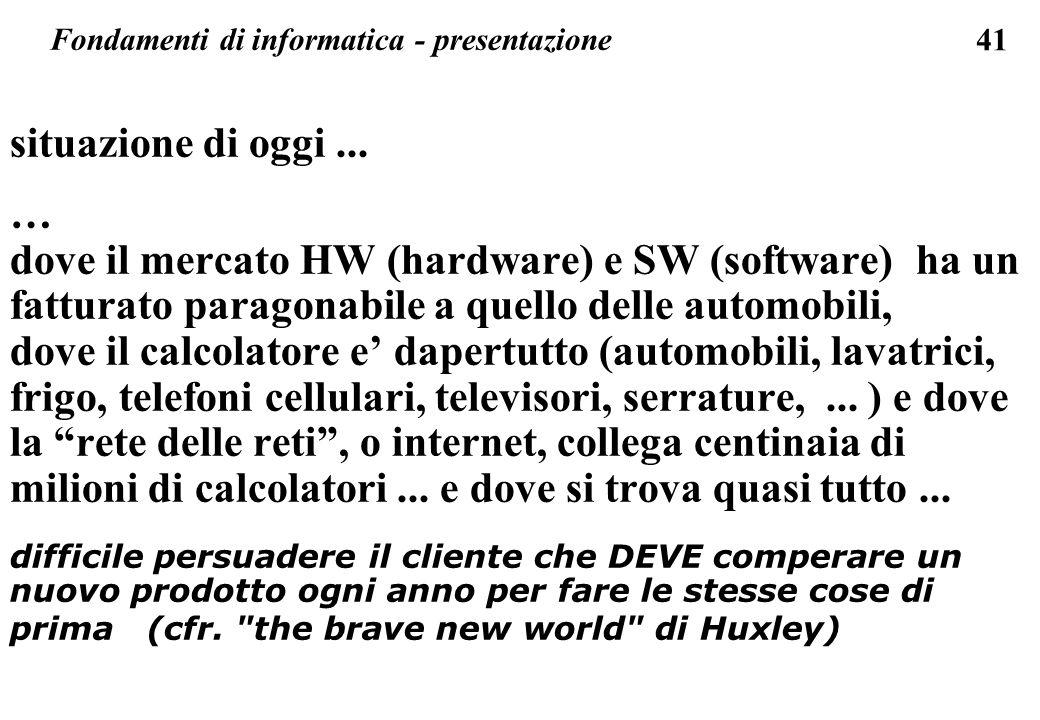 41 situazione di oggi... … dove il mercato HW (hardware) e SW (software) ha un fatturato paragonabile a quello delle automobili, dove il calcolatore e